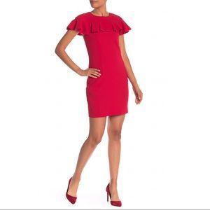 New Trina Turk Shimmer Ruffle Sheath Dress, Red 10
